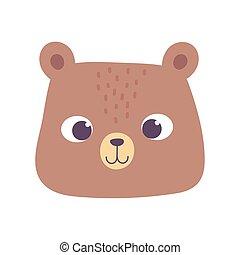 cute bear animal face cartoon isolated design icon