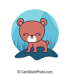 cute bear animal isolated icon