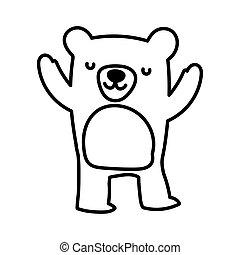 cute bear animal wildlife cartoon line style