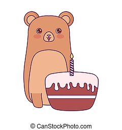 cute bear animal with cake of birthday