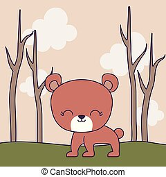 cute bear animal with forest
