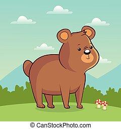 cute bear animal with landscape