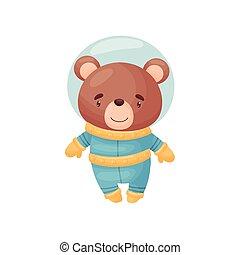Cute bear astronaut. Vector illustration on white background.