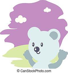 cute bear baby animal isolated icon