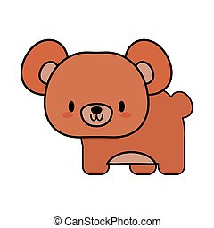 cute bear baby kawaii, line and fill style icon