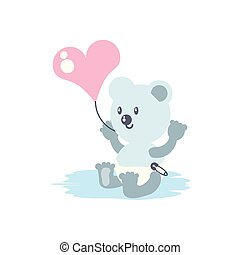 cute bear baby with balloon helium in heart shape