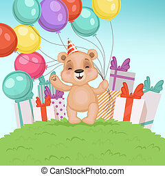 Cute bear background. Funny teddy bear toy for kids sitting or standing birthday or valentine gifts vector character