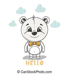 Cute bear cartoon. Hand drawn vector illustration.