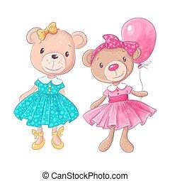 Cute bear cartoon hand drawn vector illustration