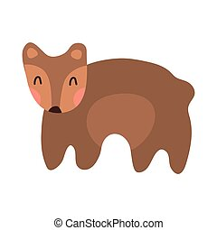 Cute bear cartoon hand drawn vector illustration in flat style. Can be used for t-shirt print, kids wear clothing design, baby shower invitation card. Good brown grizzly bear, wild animals.