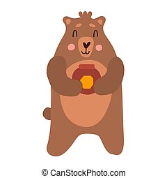 Cute bear cartoon hand drawn vector illustration in flat style with a jar of honey. Can be used for printing on t-shirts, children s clothing, children s invitation cards. Good brown grizzly