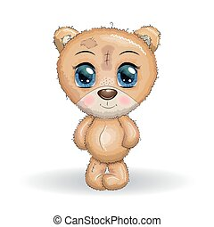 Cute bear cartoon hand drawn vector illustration. print t-shirts, baby clothes fashion design