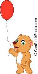 cute bear cartoon holding balloon