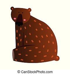 Cute bear cartoon illustration on white board