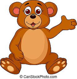 Cute bear cartoon waving