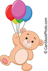 Cute bear cartoon with balloon