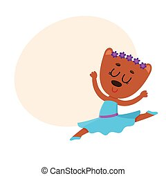 Cute bear character, ballet dancer in pointed shoes, tutu skirt