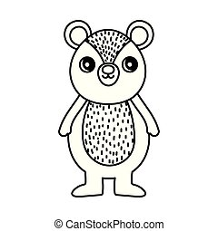 cute bear character cartoon thick line