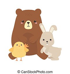 cute bear chicken and rabbit little animal cartoon isolated design