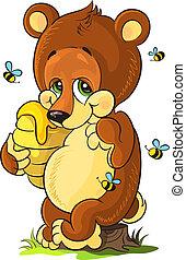 Cute bear cub with honey - Vector illustration of cute bear...