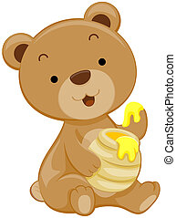 Cute Bear with Honey with Clipping Path