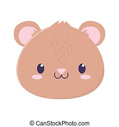 cute bear face animal cartoon isolated icon