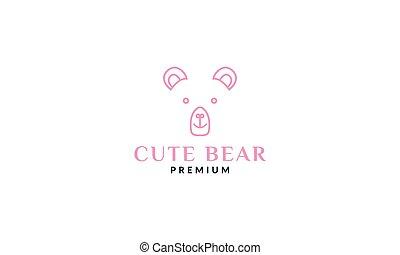 cute bear face head line pink logo design
