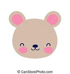 cute bear face little animal cartoon isolated design icon