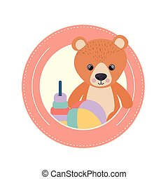 cute bear for baby card on white background