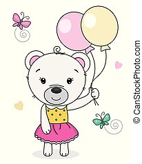 Cute bear girl with balloons