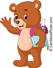 cute bear go to school cartoon