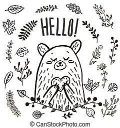 cute bear hand drawn