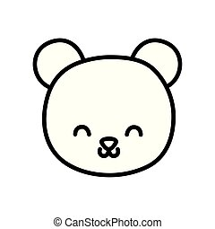 cute bear head cartoon icon thick line