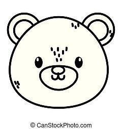 cute bear head character cartoon thick line