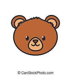 cute bear head on white background