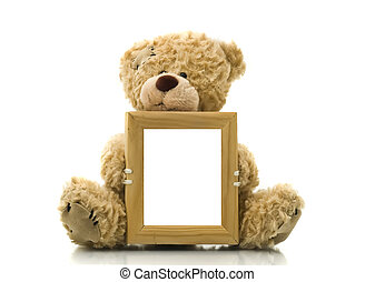 Cute bear holding empty frame for picture or photo over white