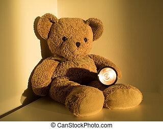 Cute bear holding flashlight sitting alone on wood floor at corner room. (selective focus)