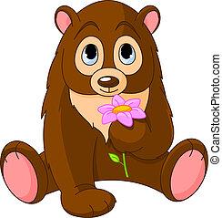 Cute Bear holding flower