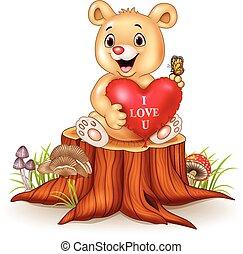 Cute bear holding red heart balloons on tree stump
