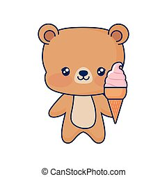 cute bear holding sweet ice cream