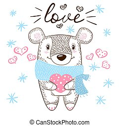Cute bear huge hugs illustration. Love and heart.