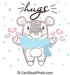 Cute bear huge hugs illustration. Love and winter.