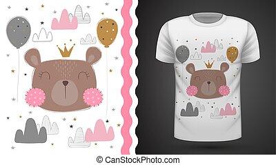 Cute bear - idea for print t-shirt.