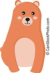 Cute bear, illustration, vector on white background.