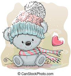 Cute Bear in a knitted cap