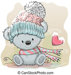 Cute Bear in a knitted cap