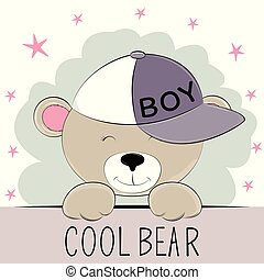 Cute bear in cap with the inscription cool bear.