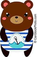 Cute bear in sailor t-shirt. Children style, isolated design element, vector. Cartoon kawaii animal character
