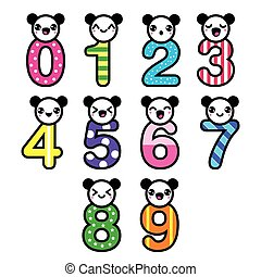 Cute bear Kawaii numbers set - vect