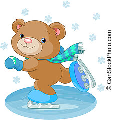 Cute bear on ice skates - Illustration of cute bear on ice...